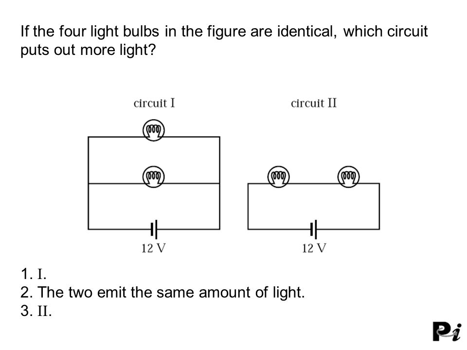 If the four light bulbs in the figure are identical, which circuit puts out more light.
