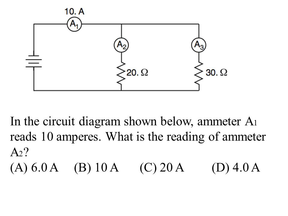 In the circuit diagram shown below, ammeter A 1 reads 10 amperes.