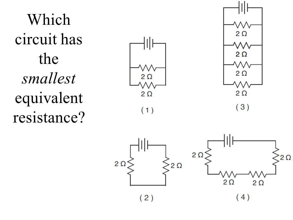 Which circuit has the smallest equivalent resistance