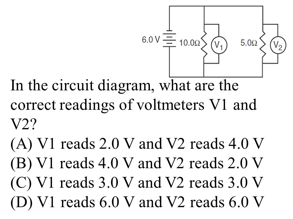In the circuit diagram, what are the correct readings of voltmeters V1 and V2.