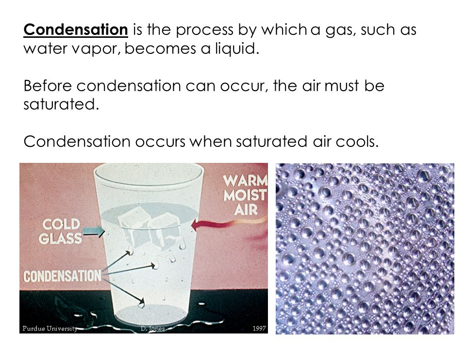Condensation is the process by which a gas, such as water vapor, becomes a liquid.