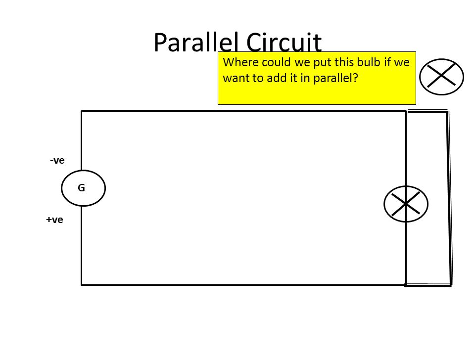 Parallel Circuit G -ve +ve Where could we put this bulb if we want to add it in parallel