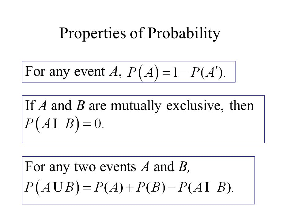 Properties of Probability For any event A, If A and B are mutually exclusive, then For any two events A and B,