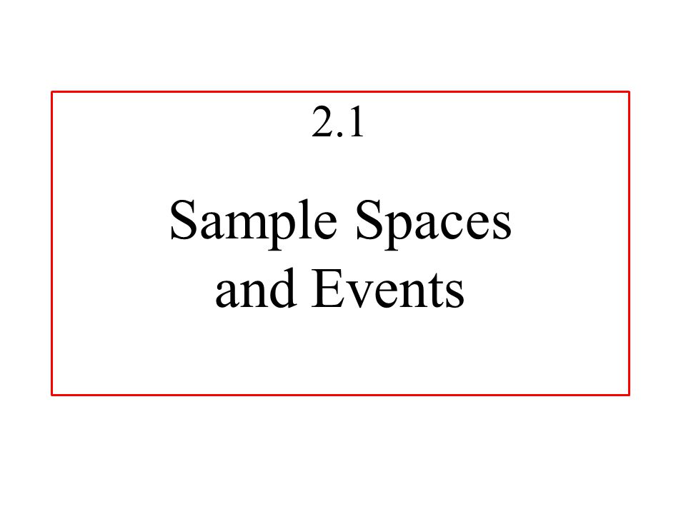 2.1 Sample Spaces and Events