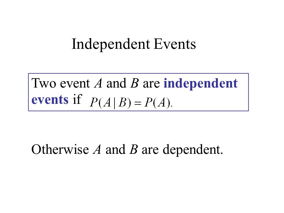 Independent Events Two event A and B are independent events if Otherwise A and B are dependent.