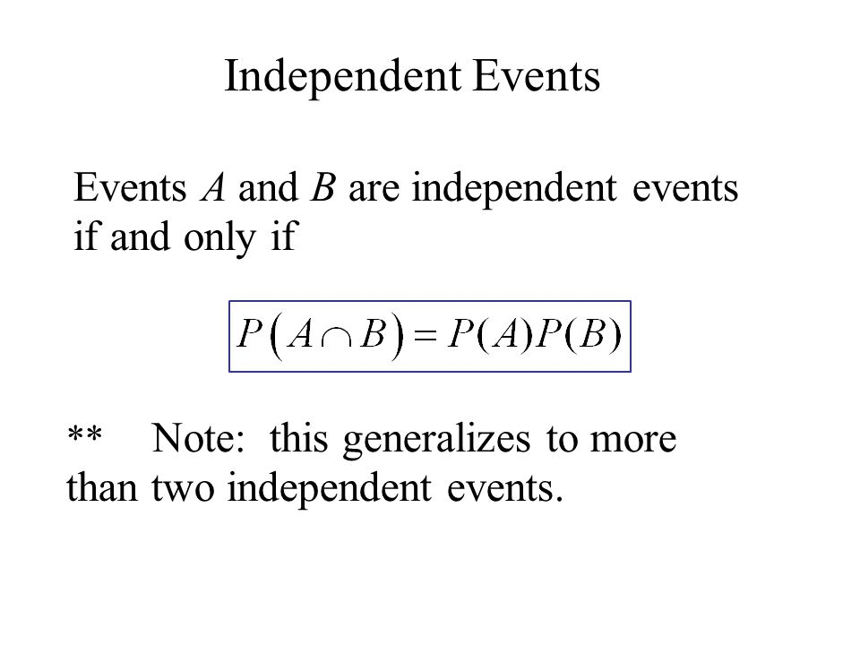 Independent Events Events A and B are independent events if and only if ** Note: this generalizes to more than two independent events.