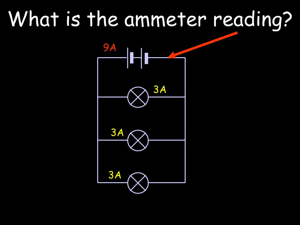 What is the ammeter reading 3A 9A 3A