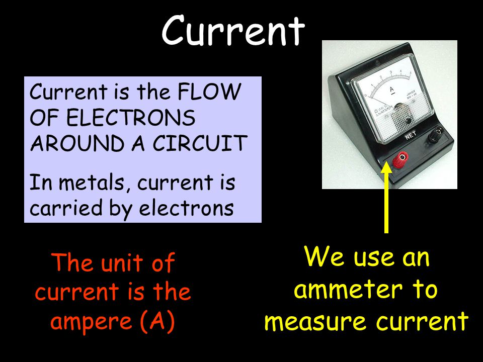 Current Current is the FLOW OF ELECTRONS AROUND A CIRCUIT In metals, current is carried by electrons We use an ammeter to measure current The unit of current is the ampere (A)