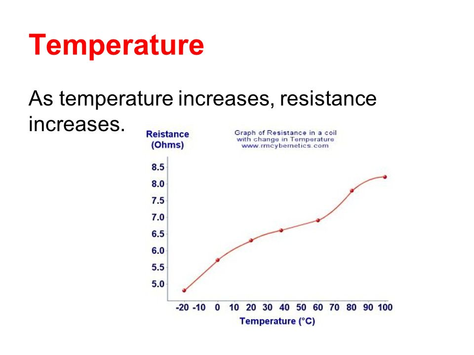 Temperature As temperature increases, resistance increases.
