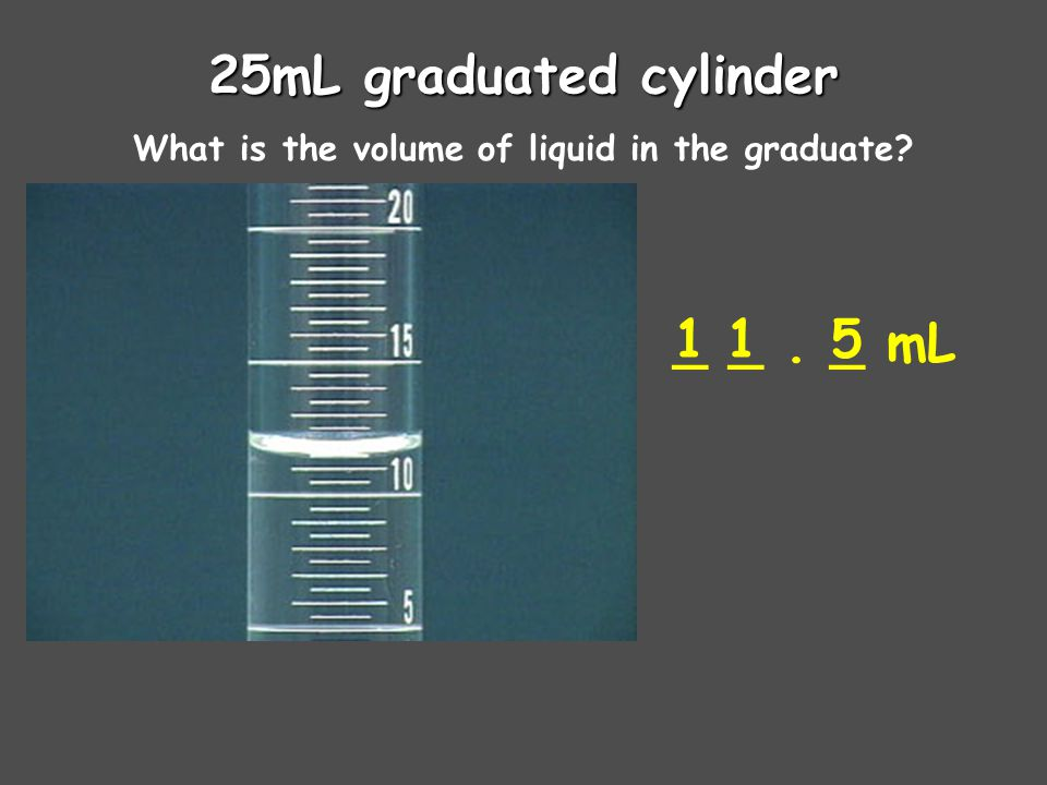 25mL graduated cylinder What is the volume of liquid in the graduate _ _. _ mL 115