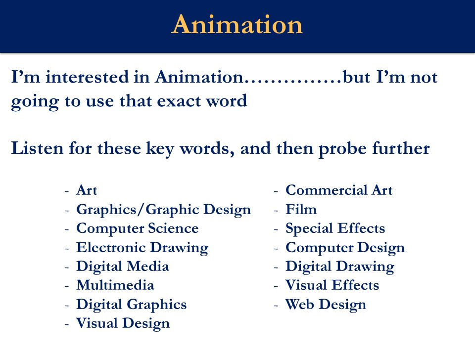I'm interested in Animation……………but I'm not going to use that exact word Listen for these key words, and then probe further Webster U Animation -Art -Graphics/Graphic Design -Computer Science -Electronic Drawing -Digital Media -Multimedia -Digital Graphics -Visual Design -Commercial Art -Film -Special Effects -Computer Design -Digital Drawing -Visual Effects -Web Design