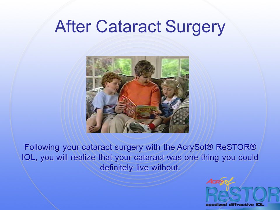 After Cataract Surgery Following your cataract surgery with the AcrySof® ReSTOR® IOL, you will realize that your cataract was one thing you could definitely live without.