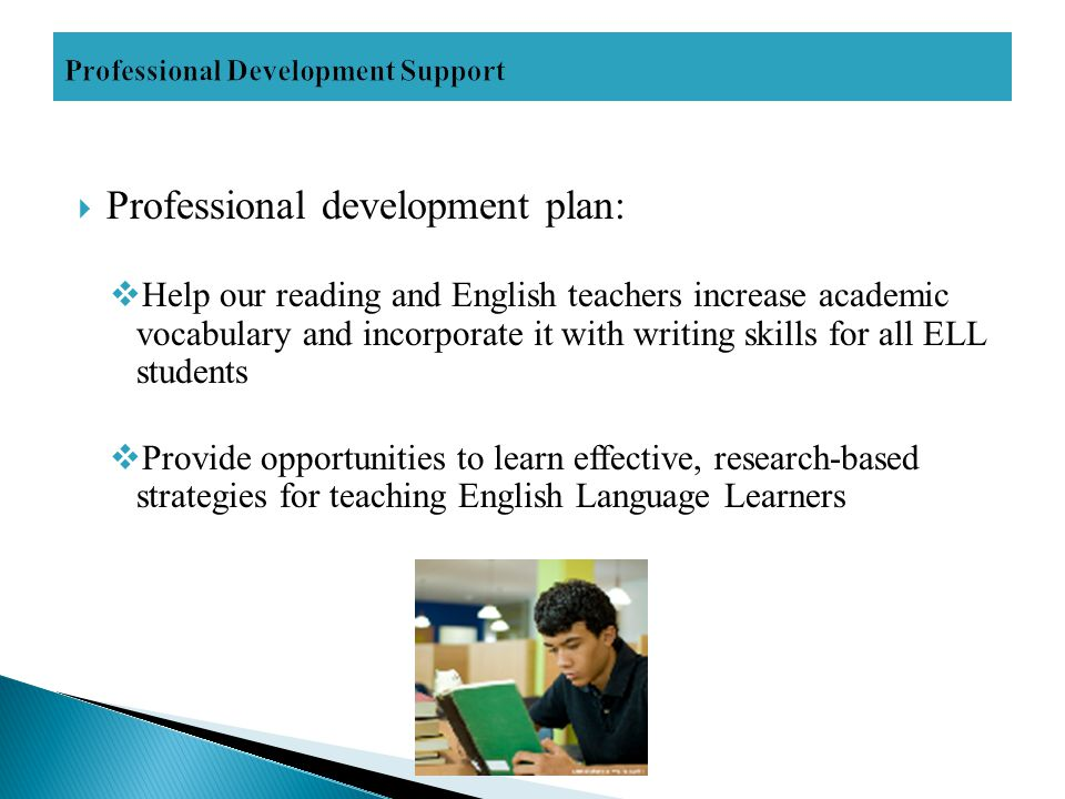  Professional development plan:  Help our reading and English teachers increase academic vocabulary and incorporate it with writing skills for all ELL students  Provide opportunities to learn effective, research-based strategies for teaching English Language Learners