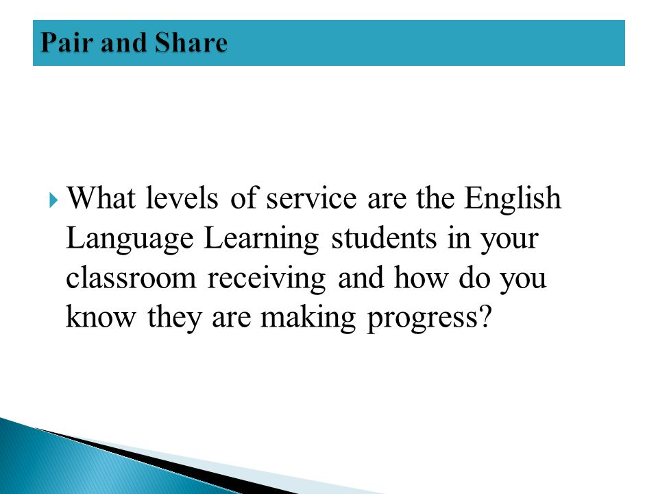  What levels of service are the English Language Learning students in your classroom receiving and how do you know they are making progress