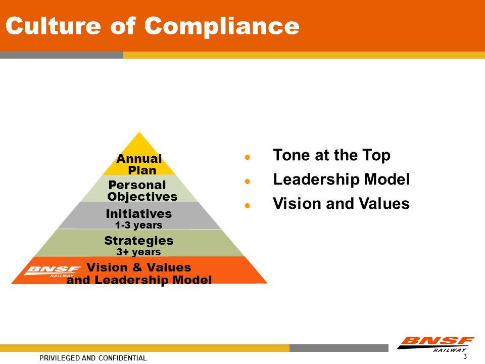 PRIVILEGED AND CONFIDENTIAL 3 Culture of Compliance Tone at the Top Leadership Model Vision and Values Annual Plan Personal Objectives Initiatives 1-3 years Strategies 3+ years Vision & Values and Leadership Model