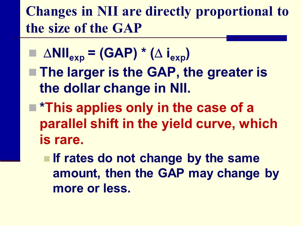 Changes in NII are directly proportional to the size of the GAP  NII exp = (GAP) * (  i exp ) The larger is the GAP, the greater is the dollar change in NII.