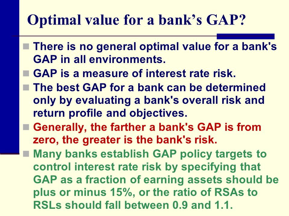 Optimal value for a bank's GAP.