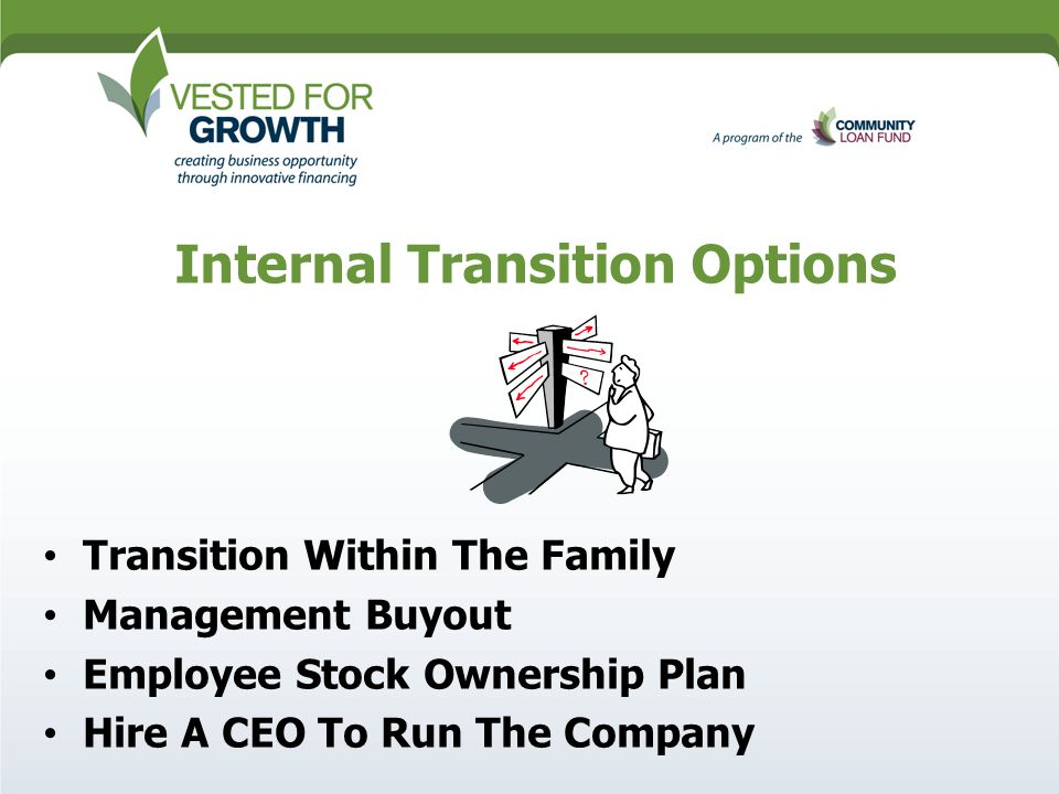 Ownership Transition Overview Of  Ownership Models  Rd Party   Internal Transition Options Transition Within The Family Management  Buyout Employee Stock Ownership Plan Hire A Ceo To Run The Company
