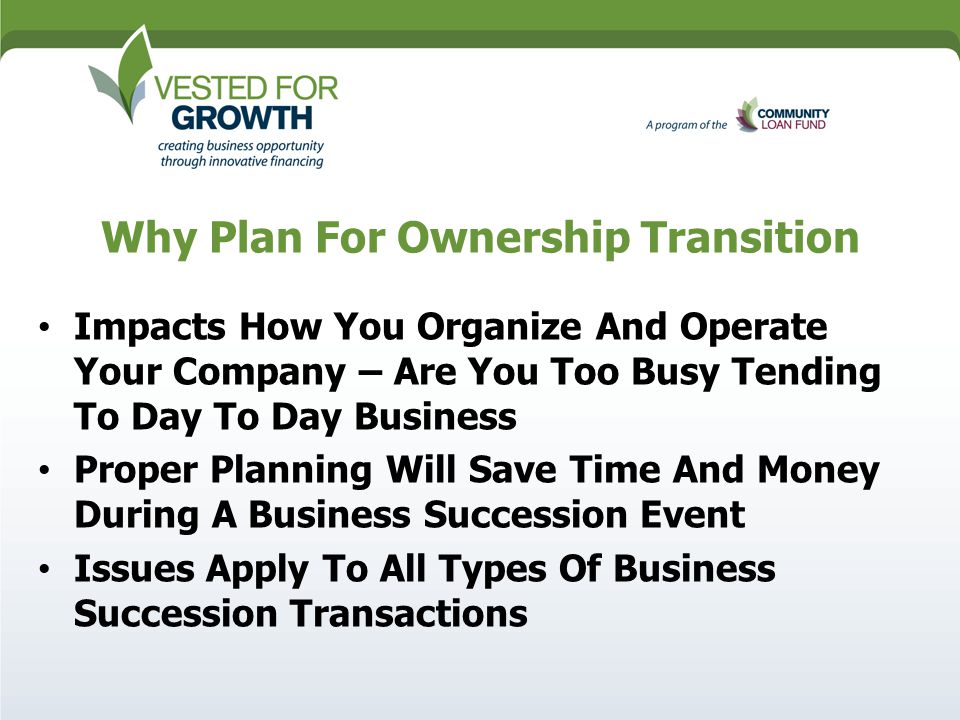 Ownership Transition Overview Of  Ownership Models  Rd Party   Why Plan For Ownership Transition Impacts