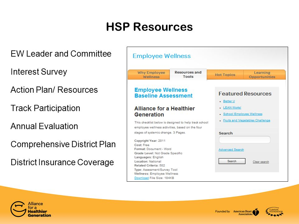 HSP Resources EW Leader and Committee Interest Survey Action Plan/ Resources Track Participation Annual Evaluation Comprehensive District Plan District Insurance Coverage
