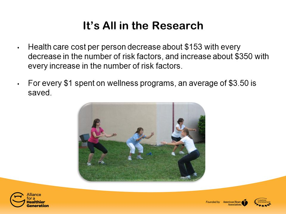 It's All in the Research Health care cost per person decrease about $153 with every decrease in the number of risk factors, and increase about $350 with every increase in the number of risk factors.
