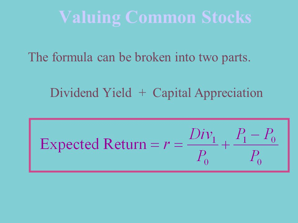 Valuing Common Stocks The formula can be broken into two parts.