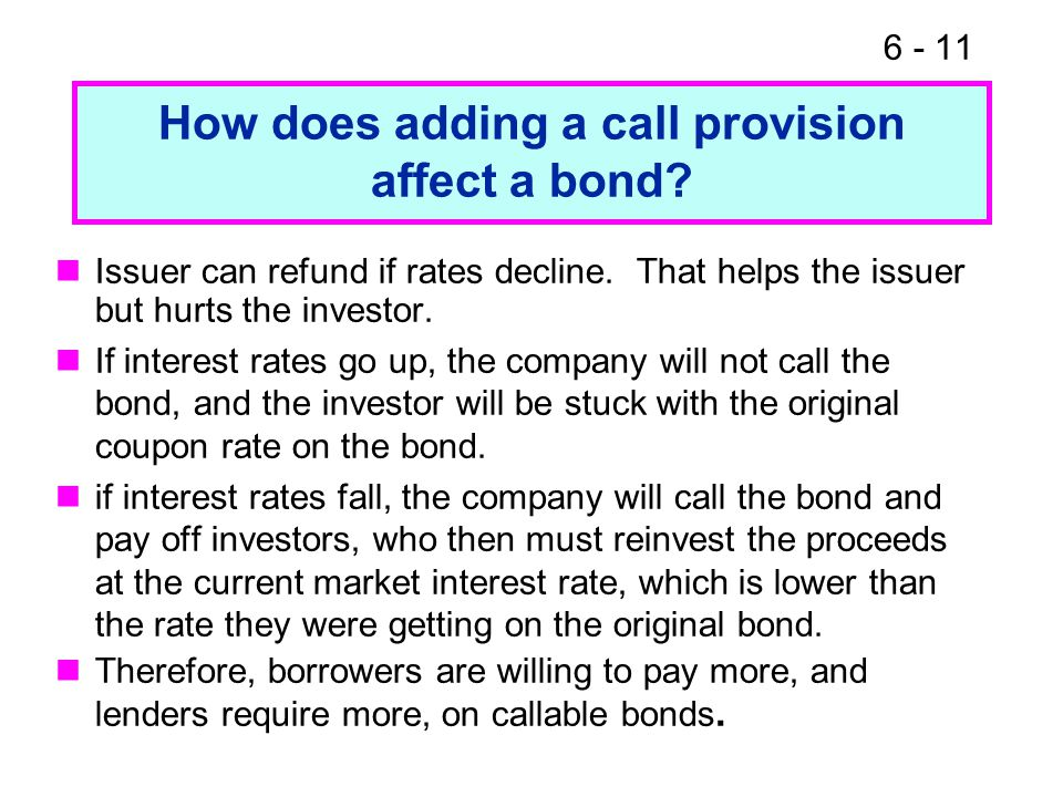 How does adding a call provision affect a bond.
