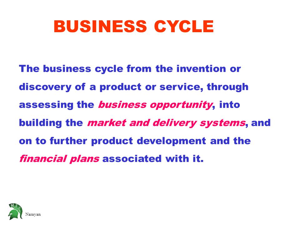 Narayan The business cycle from the invention or discovery of a product or service, through assessing the business opportunity, into building the market and delivery systems, and on to further product development and the financial plans associated with it.