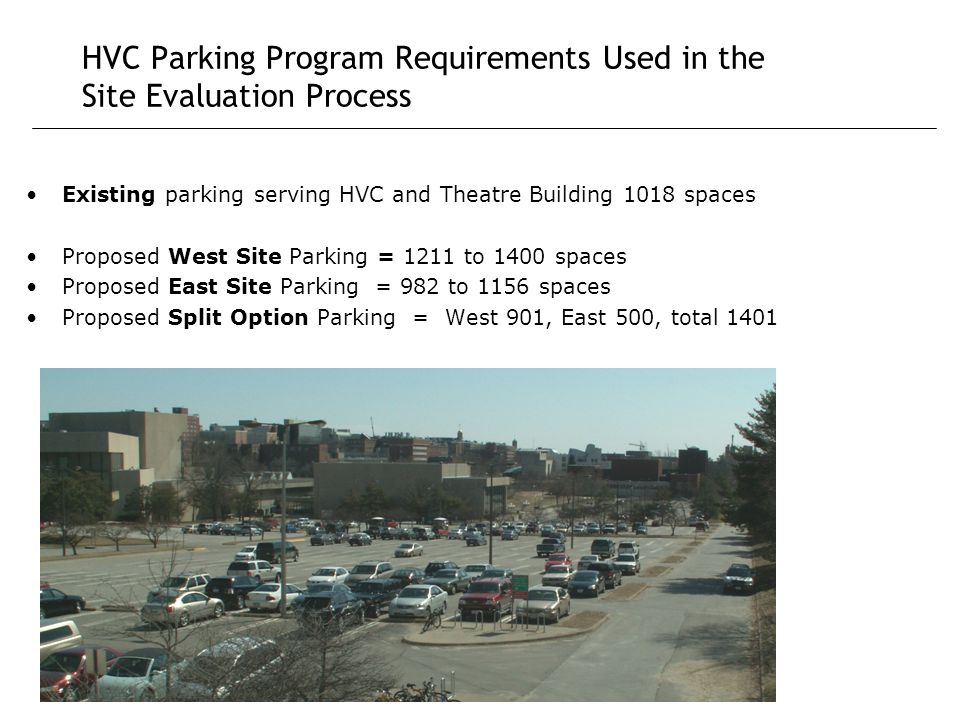 HVC Parking Program Requirements Used in the Site Evaluation Process Existing parking serving HVC and Theatre Building 1018 spaces Proposed West Site Parking = 1211 to 1400 spaces Proposed East Site Parking = 982 to 1156 spaces Proposed Split Option Parking = West 901, East 500, total 1401