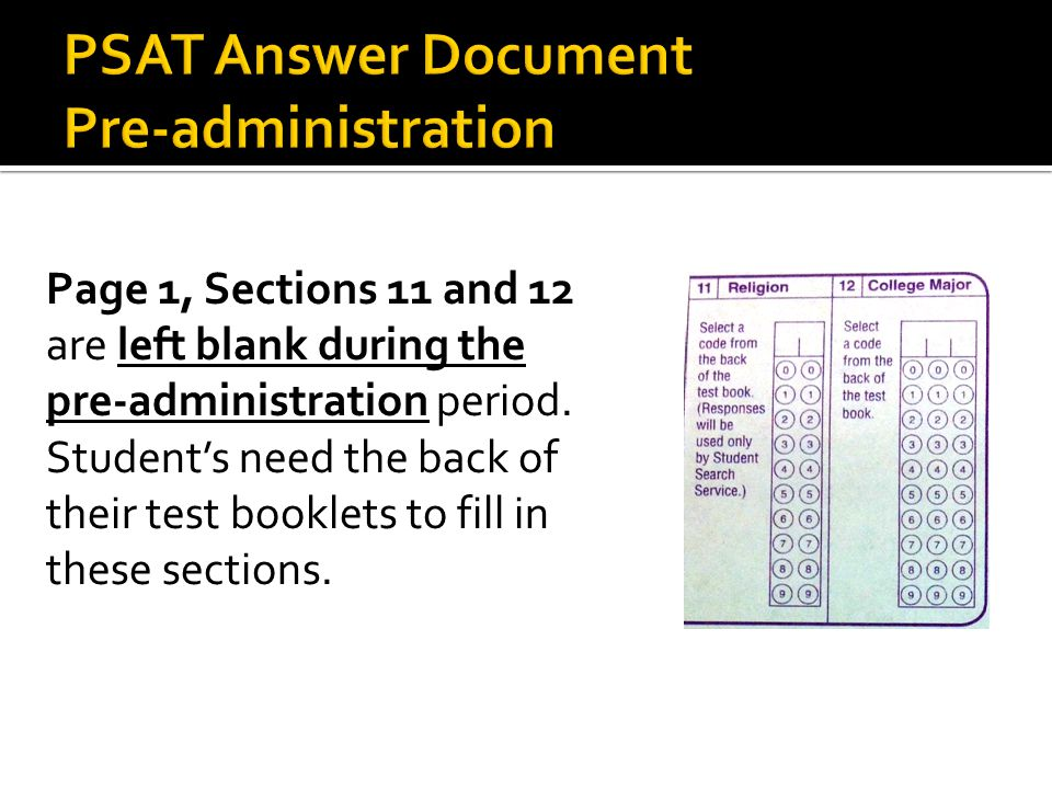 Page 1, Sections 11 and 12 are left blank during the pre-administration period.