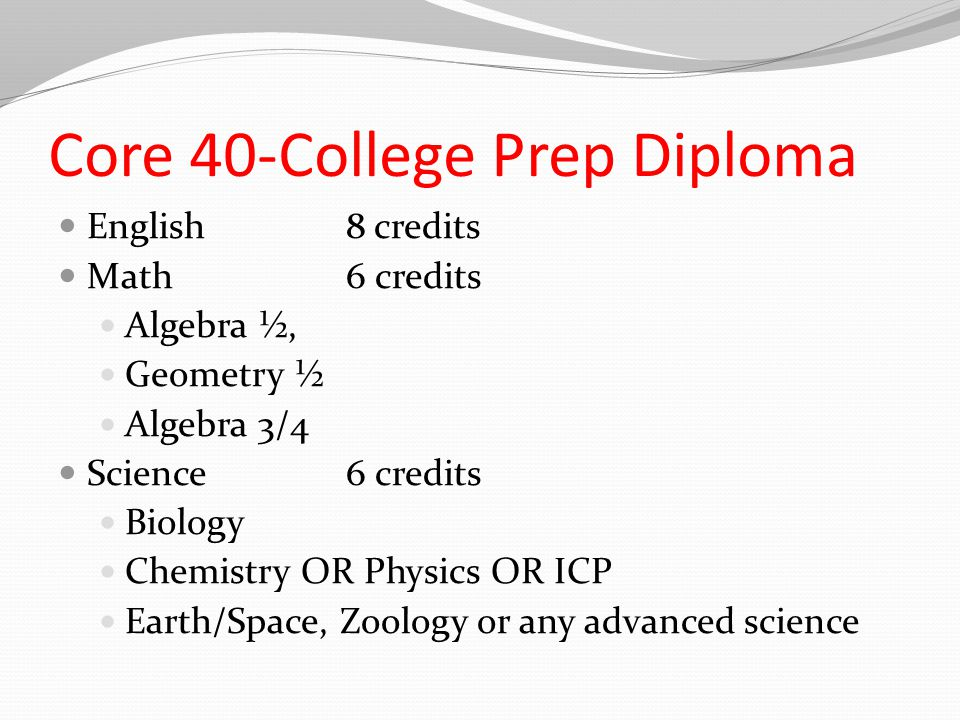 Core 40-College Prep Diploma English8 credits Math6 credits Algebra ½, Geometry ½ Algebra 3/4 Science6 credits Biology Chemistry OR Physics OR ICP Earth/Space, Zoology or any advanced science