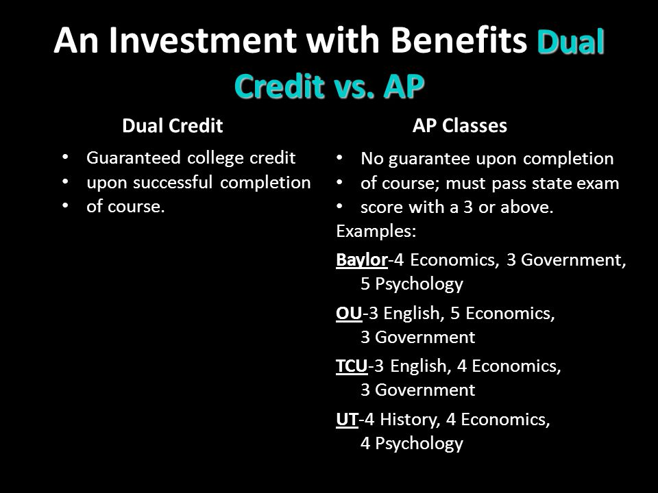 Dual Credit vs. AP An Investment with Benefits Dual Credit vs.