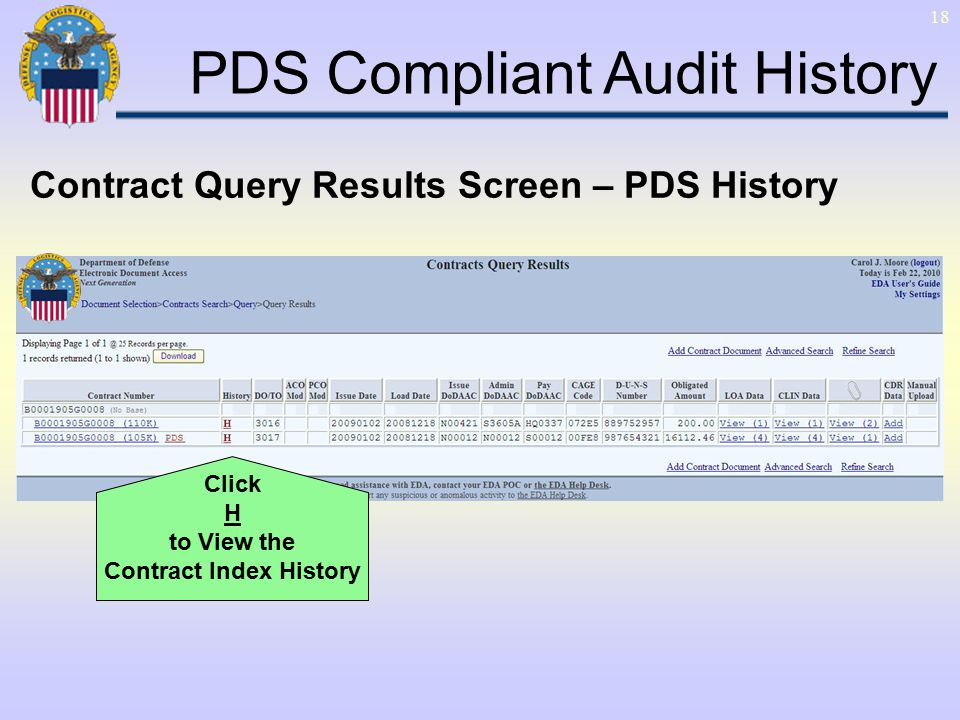 1 Contract Query Results View PDS Data in EDA Electronic Document