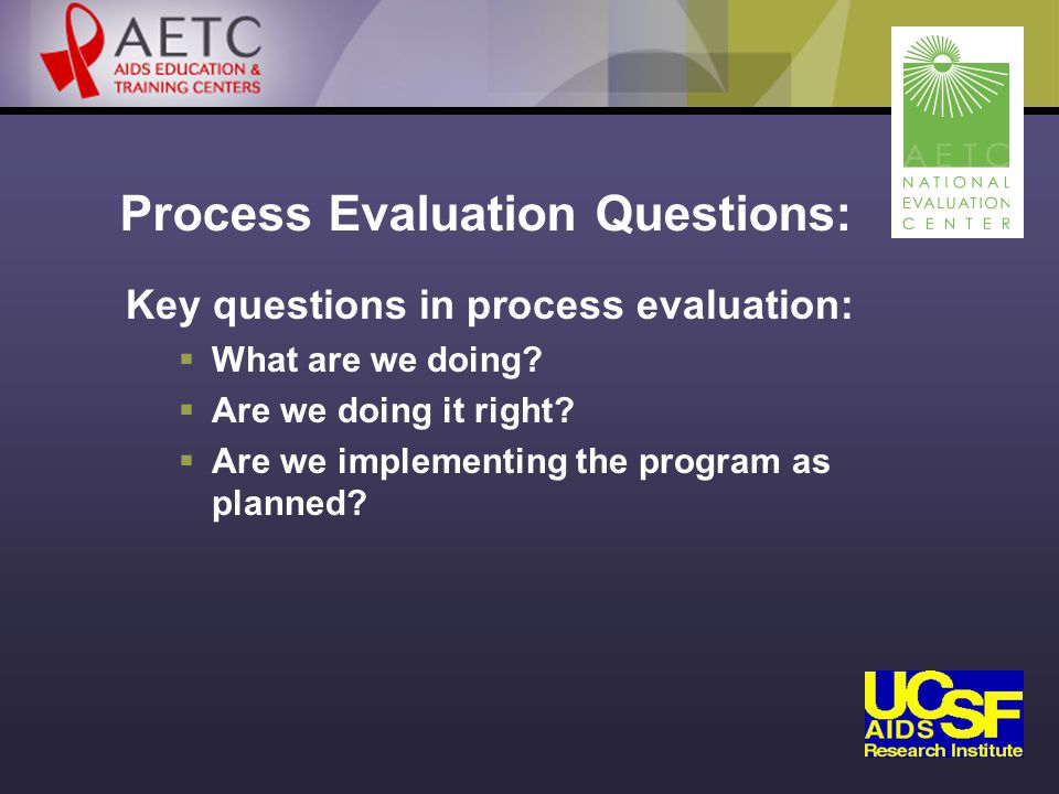 Process Evaluation Questions: Key questions in process evaluation:  What are we doing.