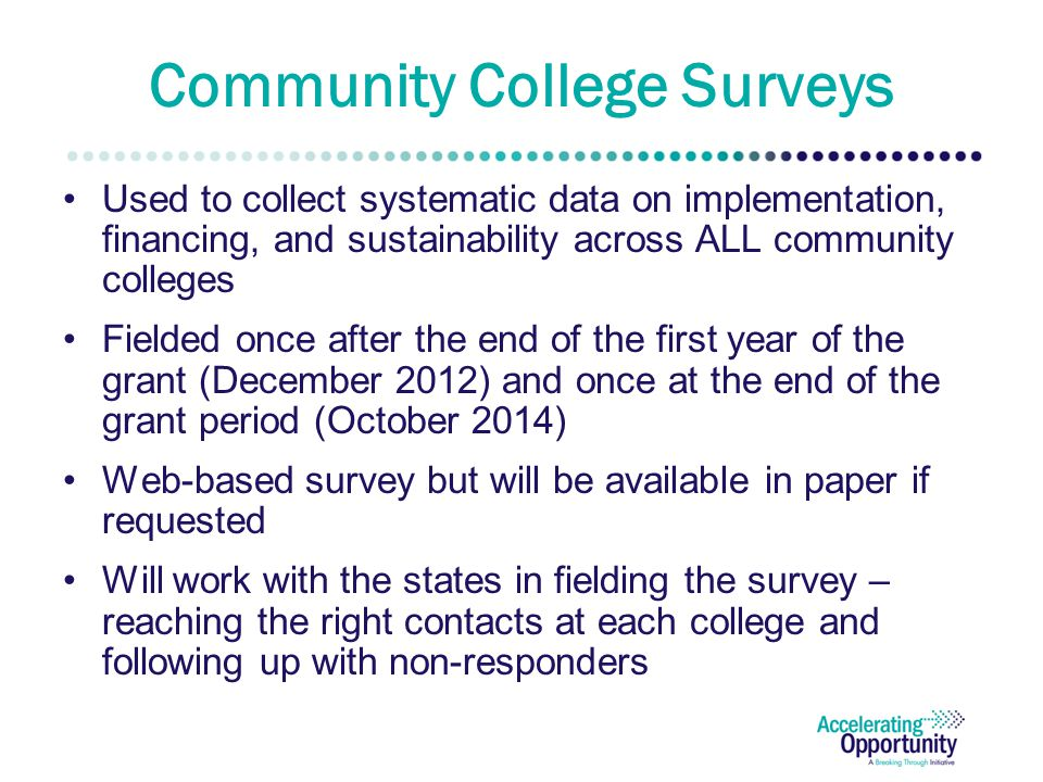 Community College Surveys Used to collect systematic data on implementation, financing, and sustainability across ALL community colleges Fielded once after the end of the first year of the grant (December 2012) and once at the end of the grant period (October 2014) Web-based survey but will be available in paper if requested Will work with the states in fielding the survey – reaching the right contacts at each college and following up with non-responders