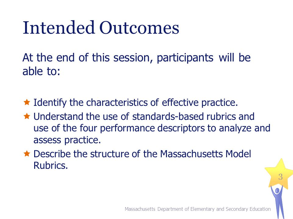Intended Outcomes At the end of this session, participants will be able to:  Identify the characteristics of effective practice.