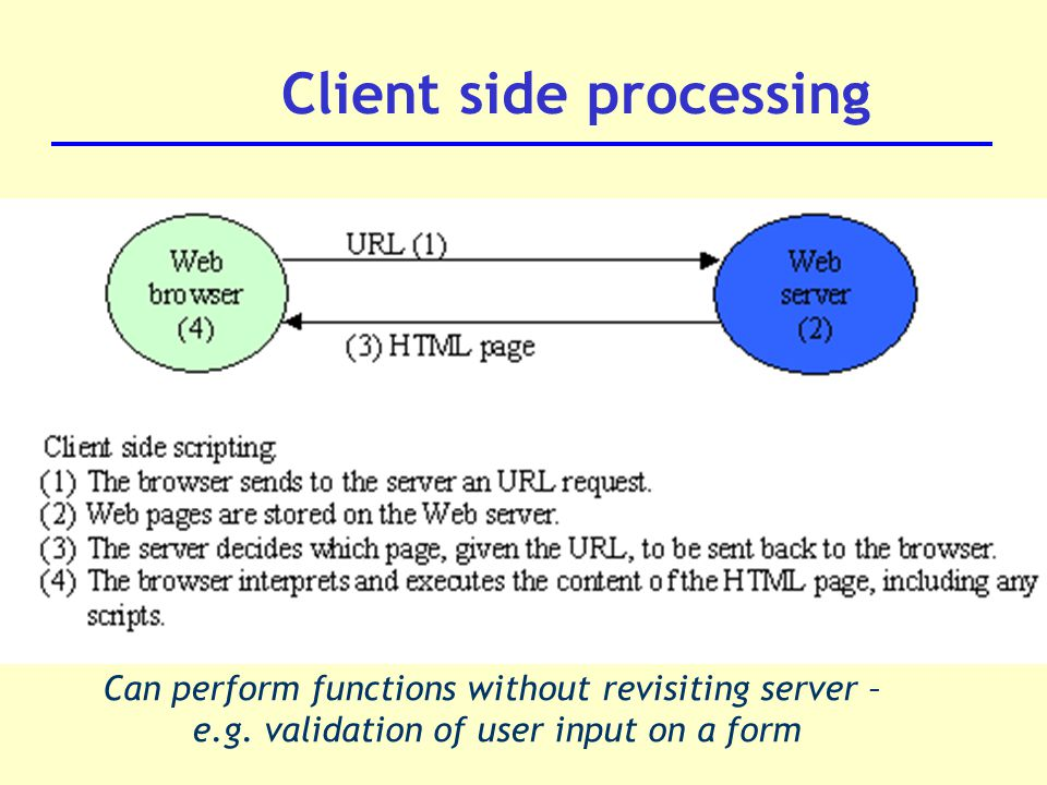 Client side processing Can perform functions without revisiting server – e.g.