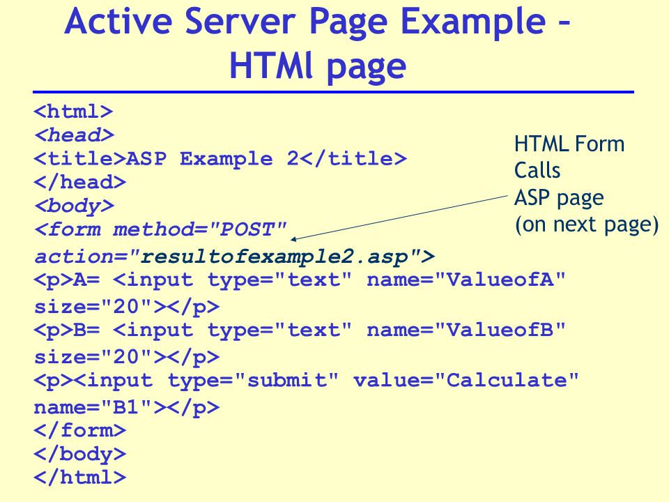 ASP Example 2 A= B= Active Server Page Example – HTMl page HTML Form Calls ASP page (on next page)