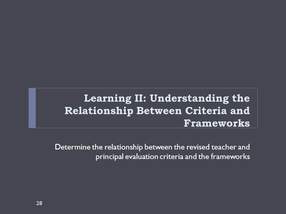 Learning II: Understanding the Relationship Between Criteria and Frameworks Determine the relationship between the revised teacher and principal evaluation criteria and the frameworks 28