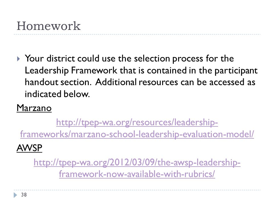 Homework 38  Your district could use the selection process for the Leadership Framework that is contained in the participant handout section.