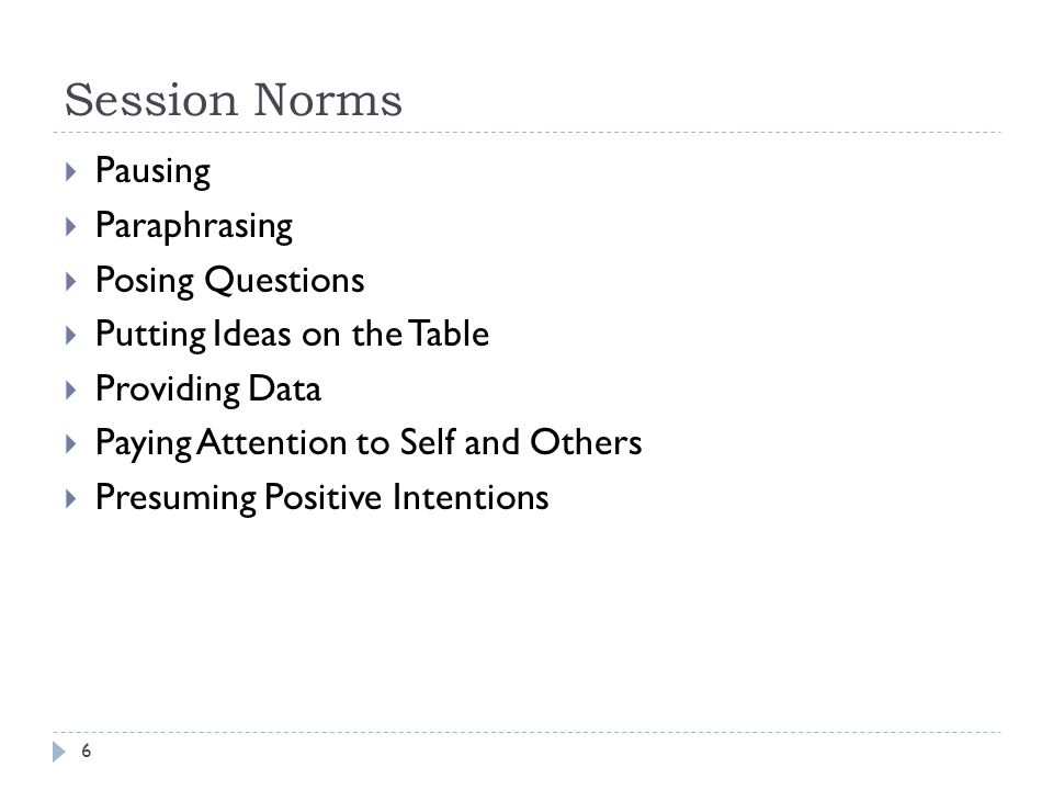 Session Norms 6  Pausing  Paraphrasing  Posing Questions  Putting Ideas on the Table  Providing Data  Paying Attention to Self and Others  Presuming Positive Intentions