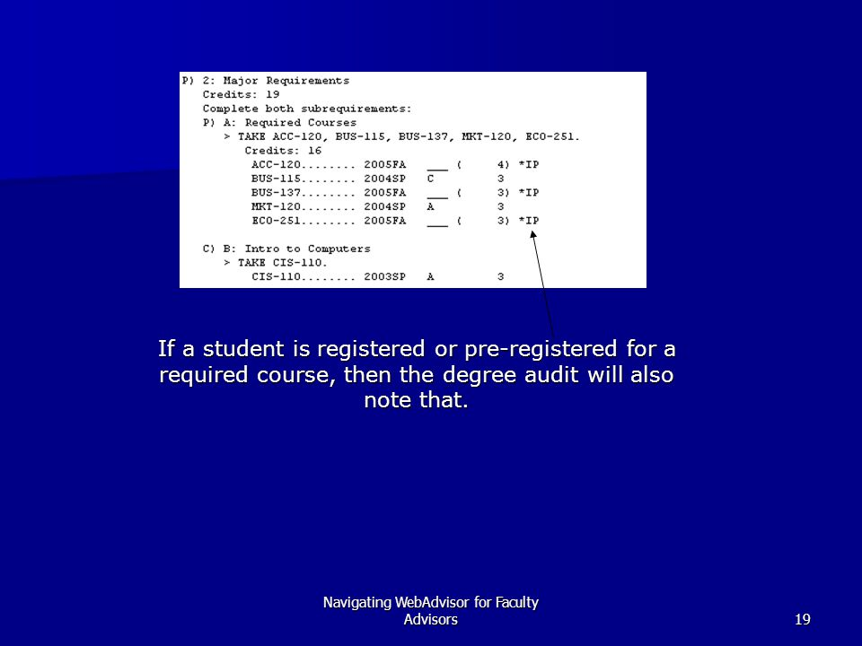Navigating WebAdvisor for Faculty Advisors19 If a student is registered or pre-registered for a required course, then the degree audit will also note that.