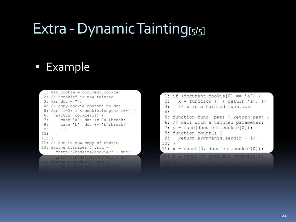 Extra - Dynamic Tainting [5/5]  Example 21