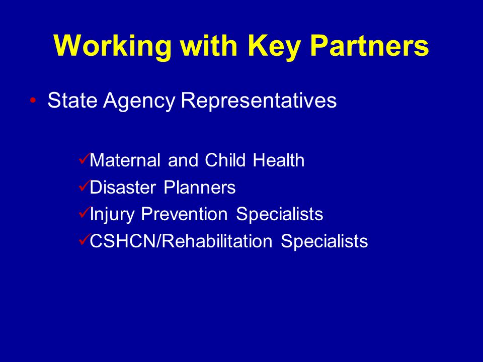 Working with Key Partners State Agency Representatives Maternal and Child Health Disaster Planners Injury Prevention Specialists CSHCN/Rehabilitation Specialists