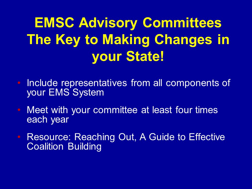 EMSC Advisory Committees The Key to Making Changes in your State.