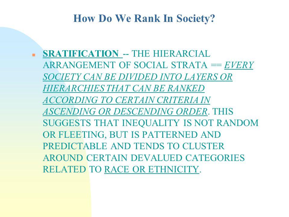 define stratified society