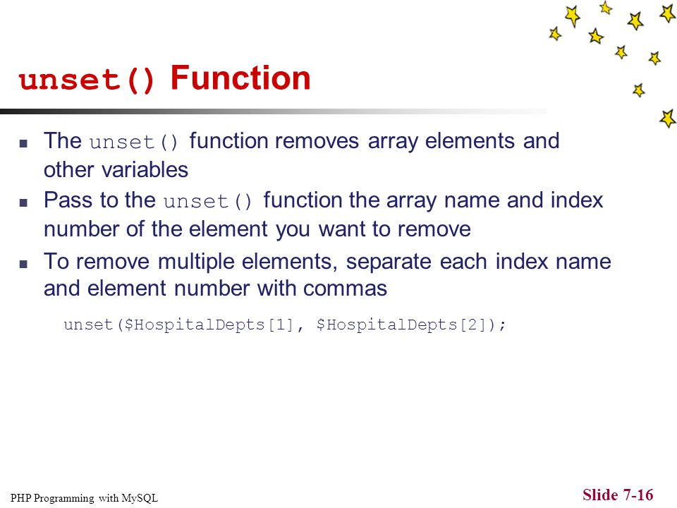 PHP Programming with MySQL Slide 7-1 CHAPTER 7 Manipulating Arrays. - ppt  download
