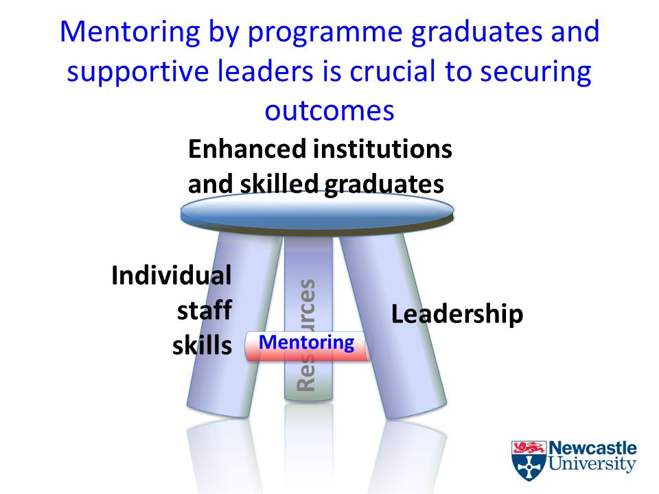 Mentoring by programme graduates and supportive leaders is crucial to securing outcomes Resources Individual staff skills Leadership Enhanced institutions and skilled graduates Mentoring