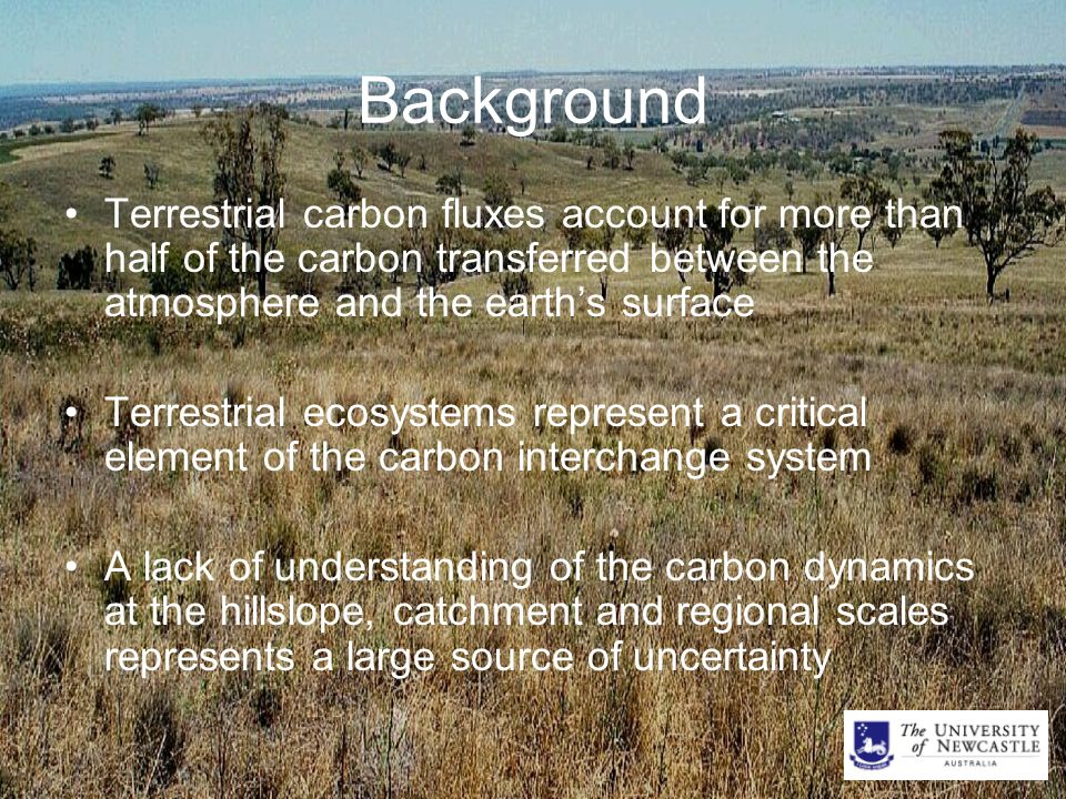 Background Terrestrial carbon fluxes account for more than half of the carbon transferred between the atmosphere and the earth's surface Terrestrial ecosystems represent a critical element of the carbon interchange system A lack of understanding of the carbon dynamics at the hillslope, catchment and regional scales represents a large source of uncertainty