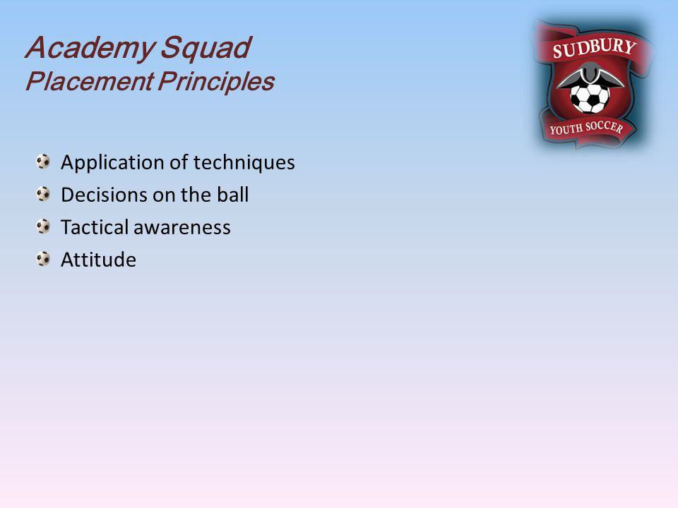 Academy Squad Placement Principles Application of techniques Decisions on the ball Tactical awareness Attitude